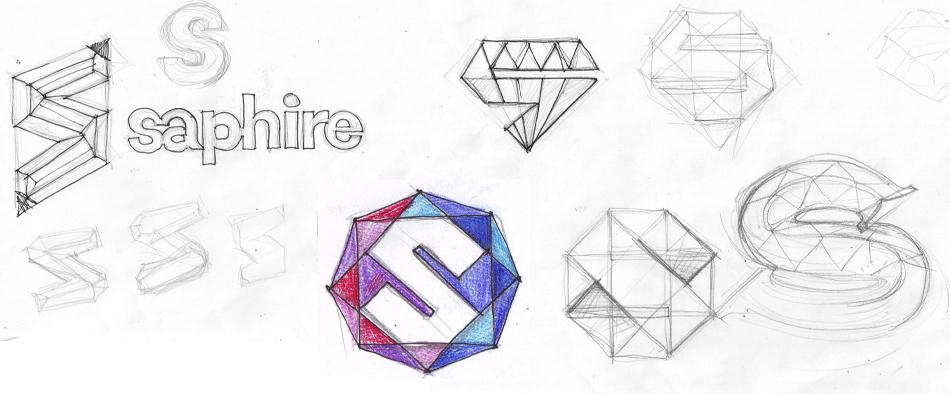 Несколько вариантов логотипа на бумаге