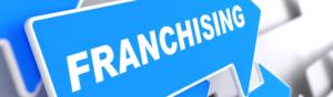 Синяя стрелка с надписью Franchising